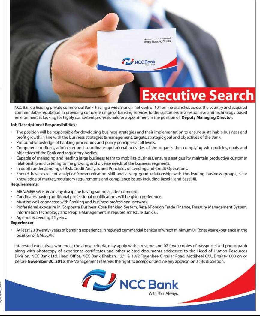 hr of ncc bank ltd banngladesh Ncc bank limited published new job certificates addressed to the head of human resources division, ncc bank bank job circular in bangladesh.
